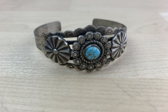 Sterling Turquoise Fred Harvey Era Cuff Bracelet